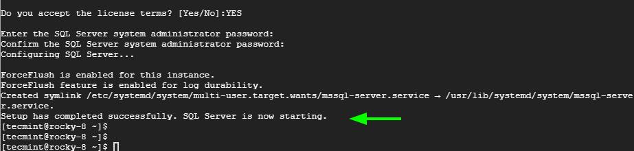 Se completó la instalación de SQL Server