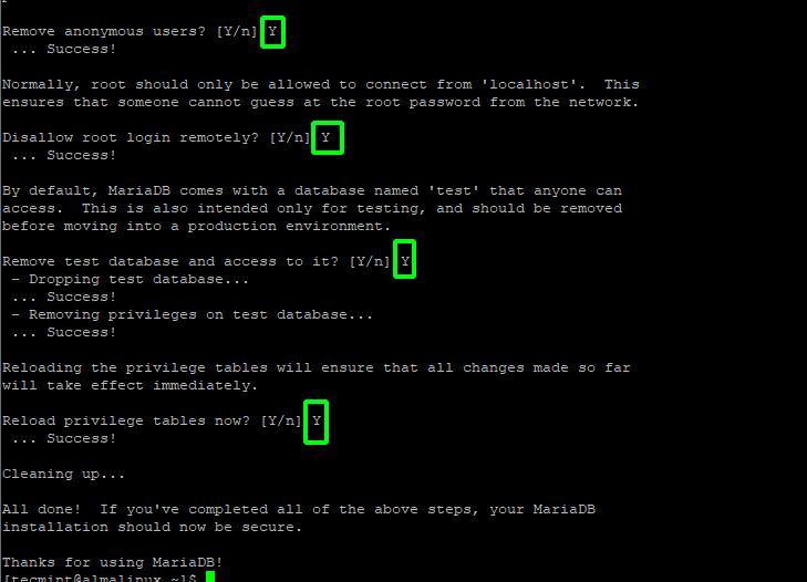 Secure MariaDB in AlmaLinux