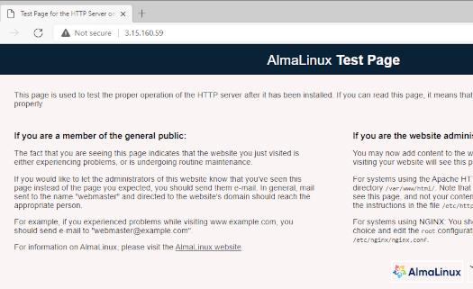 Verify Apache in AlmaLinux