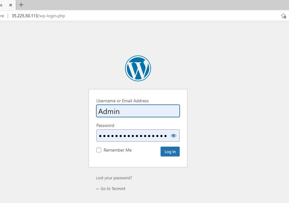 Inicio de sesión de administrador de WordPress
