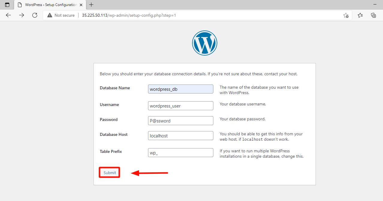 Detalles de la base de datos de WordPress