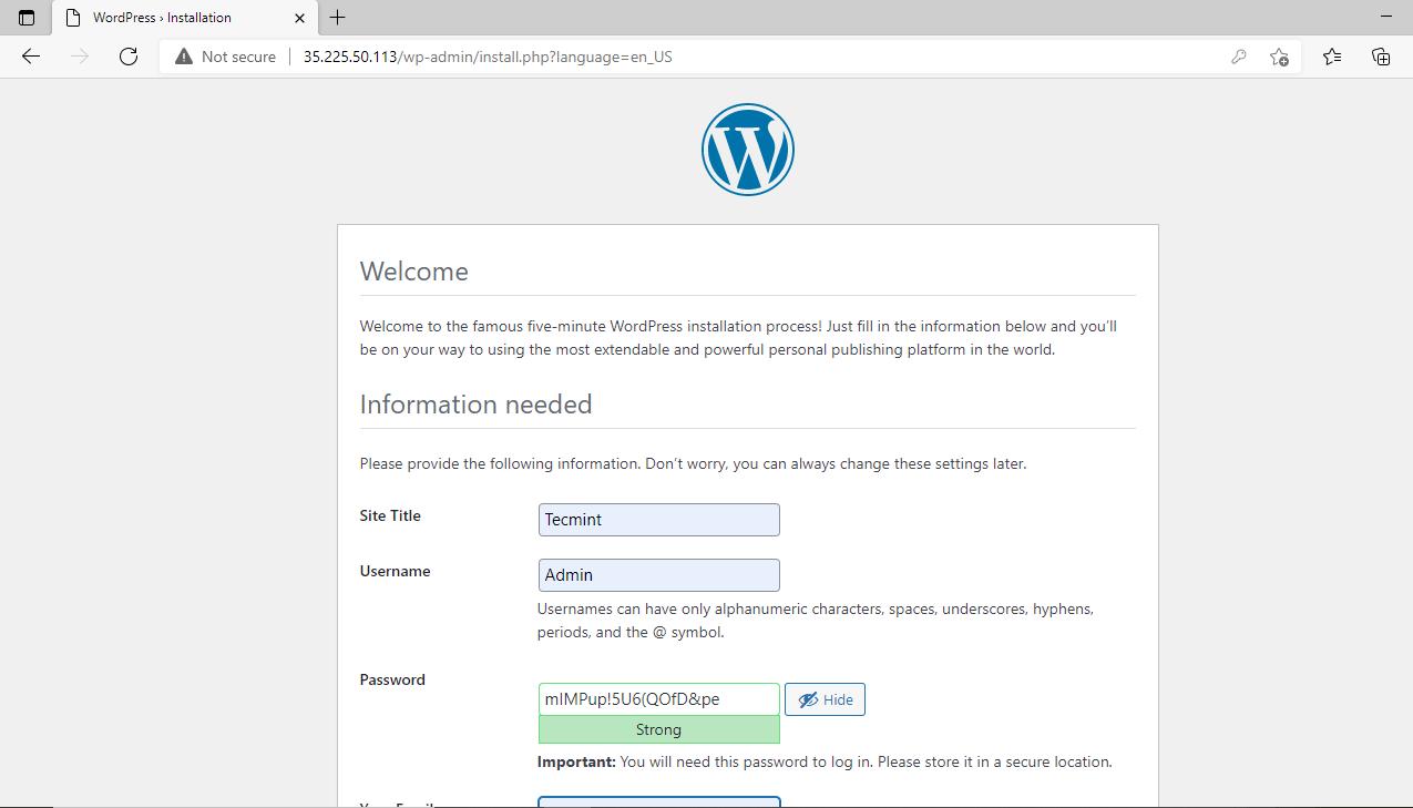 Detalles del sitio web de WordPress