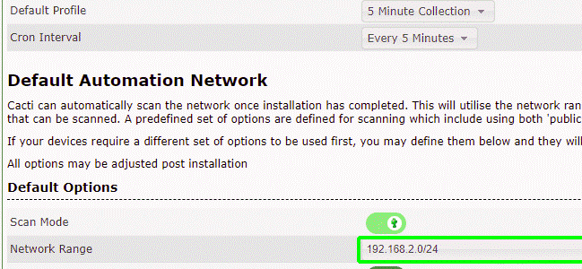 Cacti Network Settings