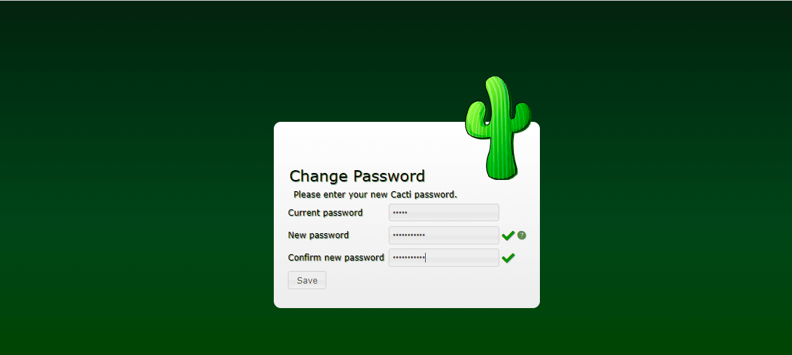 Change Cacti Admin Password