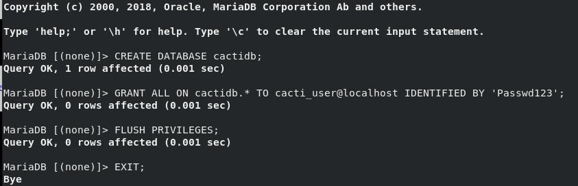 Create Cacti Database